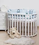 Постельный комплект в кроватку Twins Dolce Insta 3 на 6 предметов, Единорог синий, фото 2