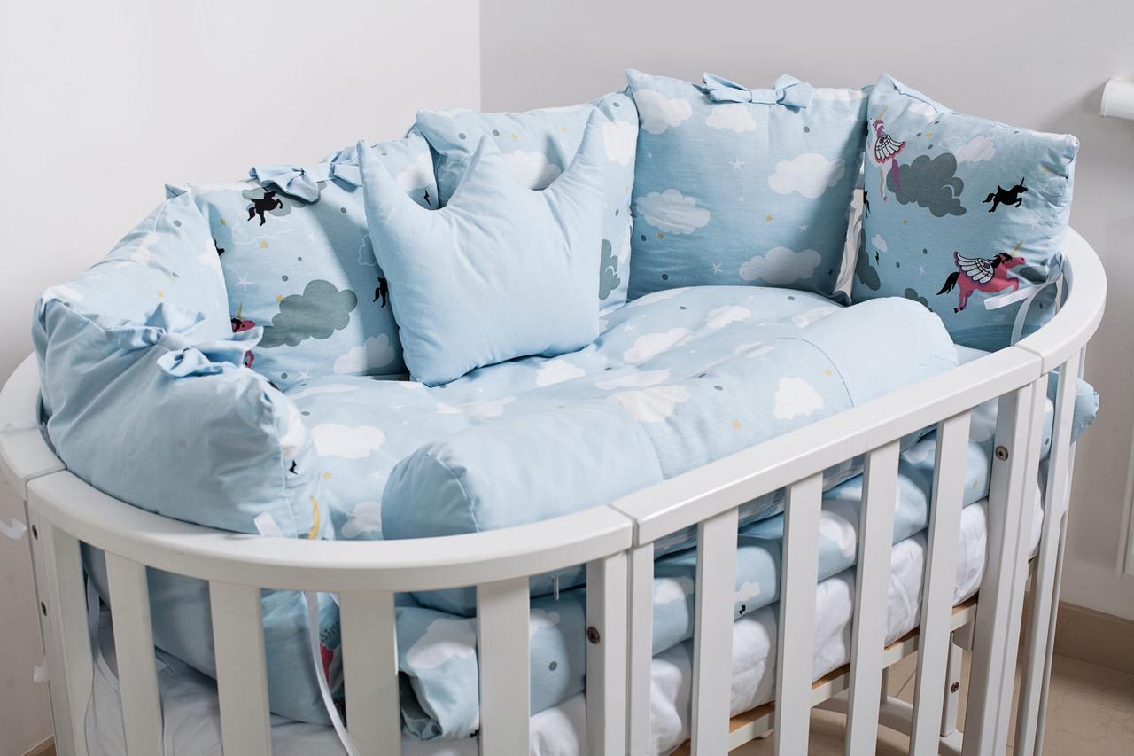 Постельный комплект в кроватку Twins Dolce Insta 3 на 6 предметов, Единорог синий