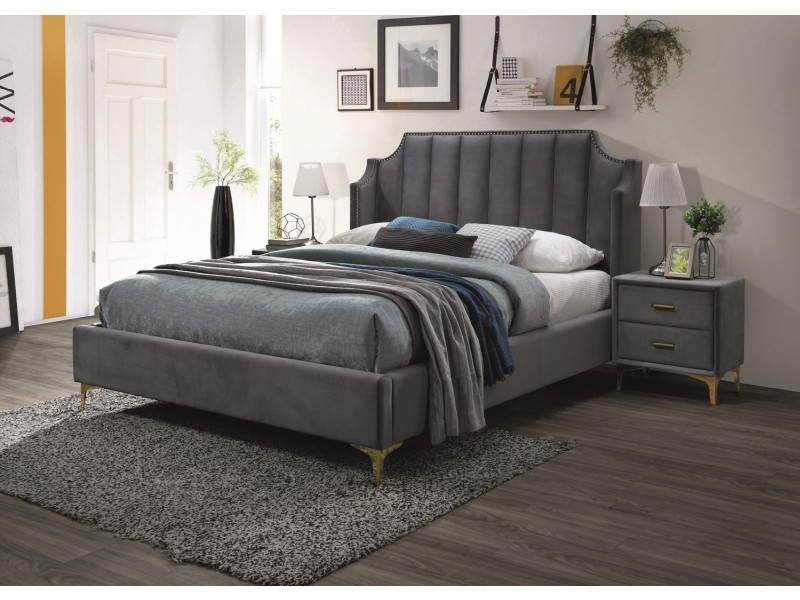 Кровать MONAKO VELVET 160x200 - серый Bluvel 14