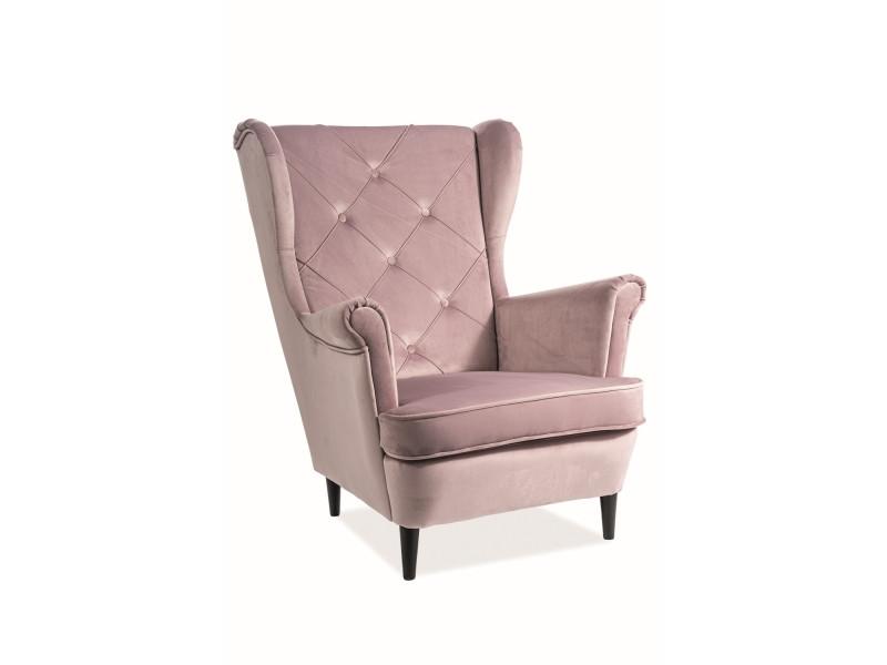 Мягкое кресло Signal Lady Velvet / Античный розовый / Венге