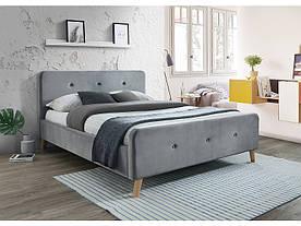 Кровать Signal Malmo Velvet / 160х200 / Серый / Дуб