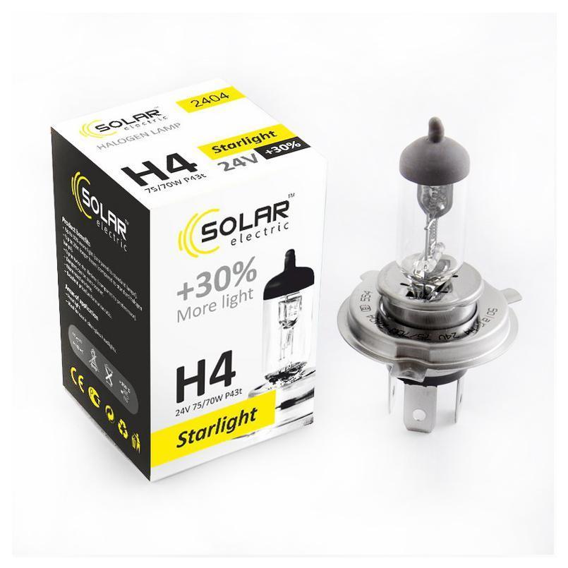 Галогеновая лампа SOLAR H4 +30% 24V 2404