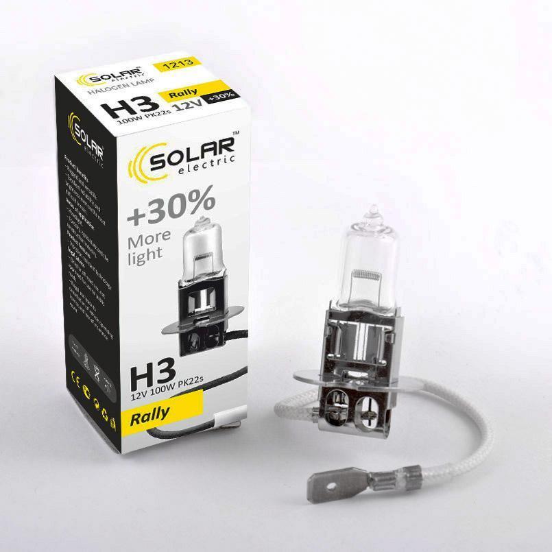Галогеновая лампа SOLAR H3 +30% 12V 1213