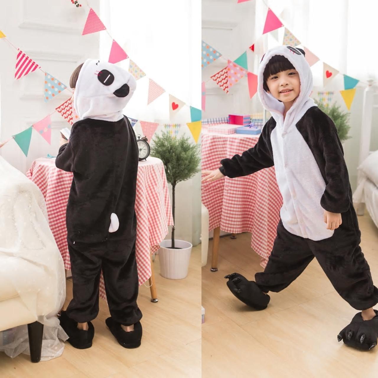 Кигуруми детская пижама Панда для мальчиков и девочек цельный костюм