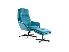 Кресло с подставкой для ног Signal Ford Velvet / Бирюзовый (Bluvel 85)