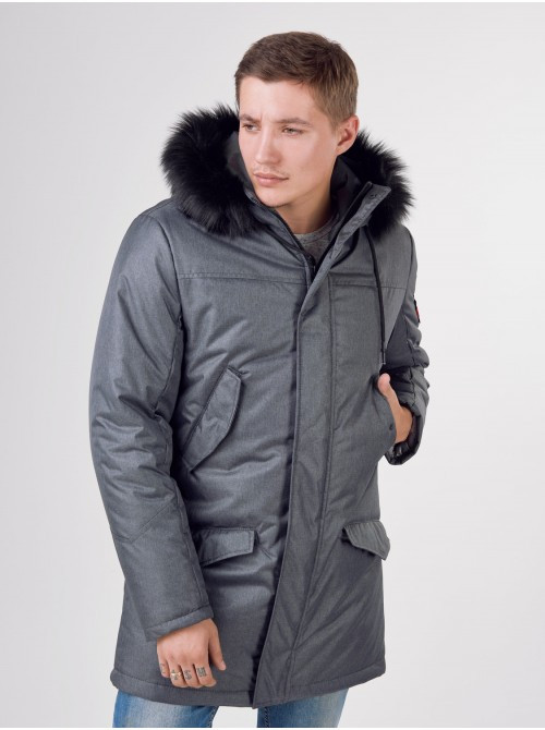 Мужская теплая зимняя курточка водоотталкивающая серого цвета, сезон: зима, куртка мужская Long Металлик 50