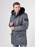 Мужская теплая зимняя курточка водоотталкивающая серого цвета, сезон: зима, куртка мужская Long Металлик 50, фото 3