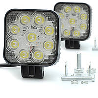 Фара-LED  Квадрат  27W (3W*9) 10-30V  82*80*30mm  Дальний/Spot MINI (87 27W) (2шт)   3432