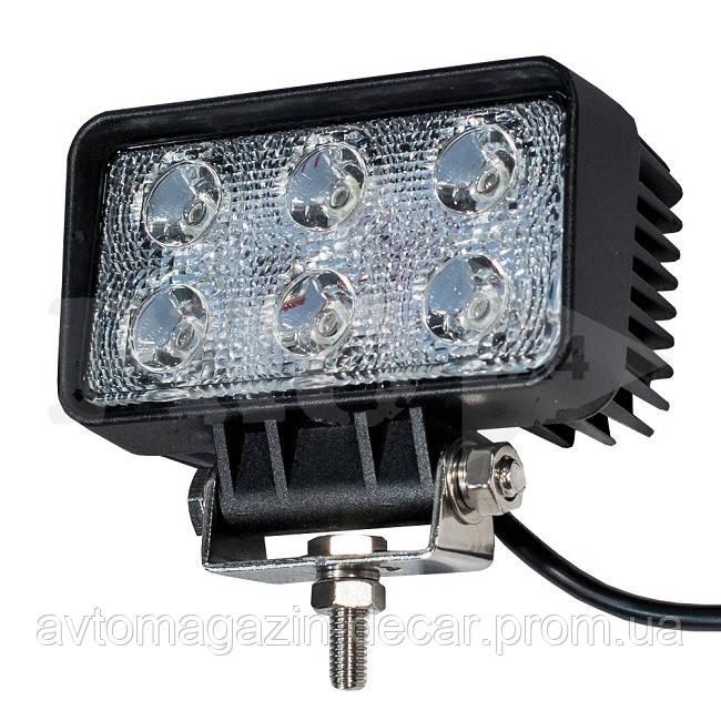 Фара-LED  Прямоугол  18W (3W*6) 10-30V  110*61*55mm  Дальний/Spot (09-18W) (1шт)   2959