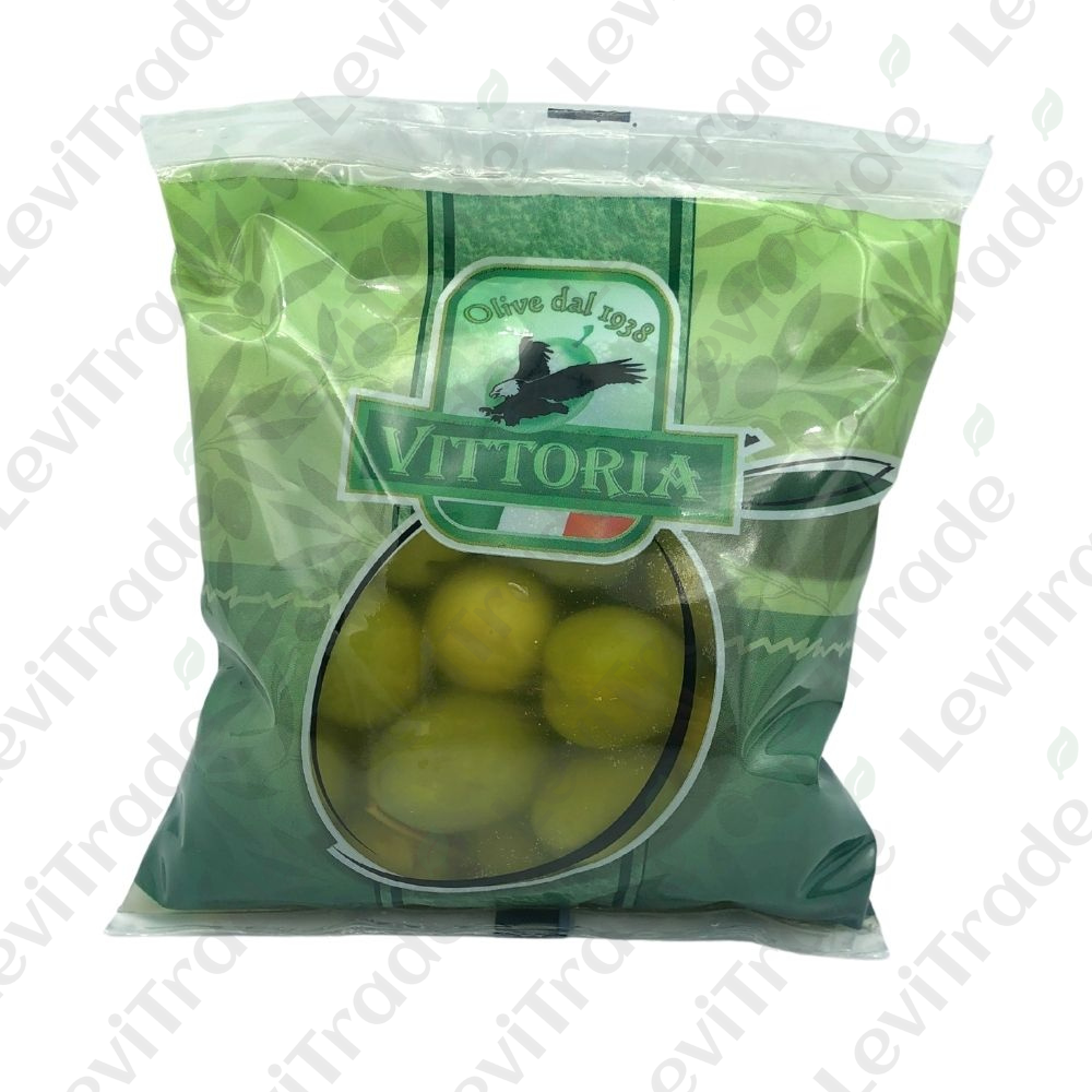 Оливки зелені VITTORIA Verdi Dolci Giganti ПАКЕТ, 250г нетто, 450г брутто 20шт/ящ