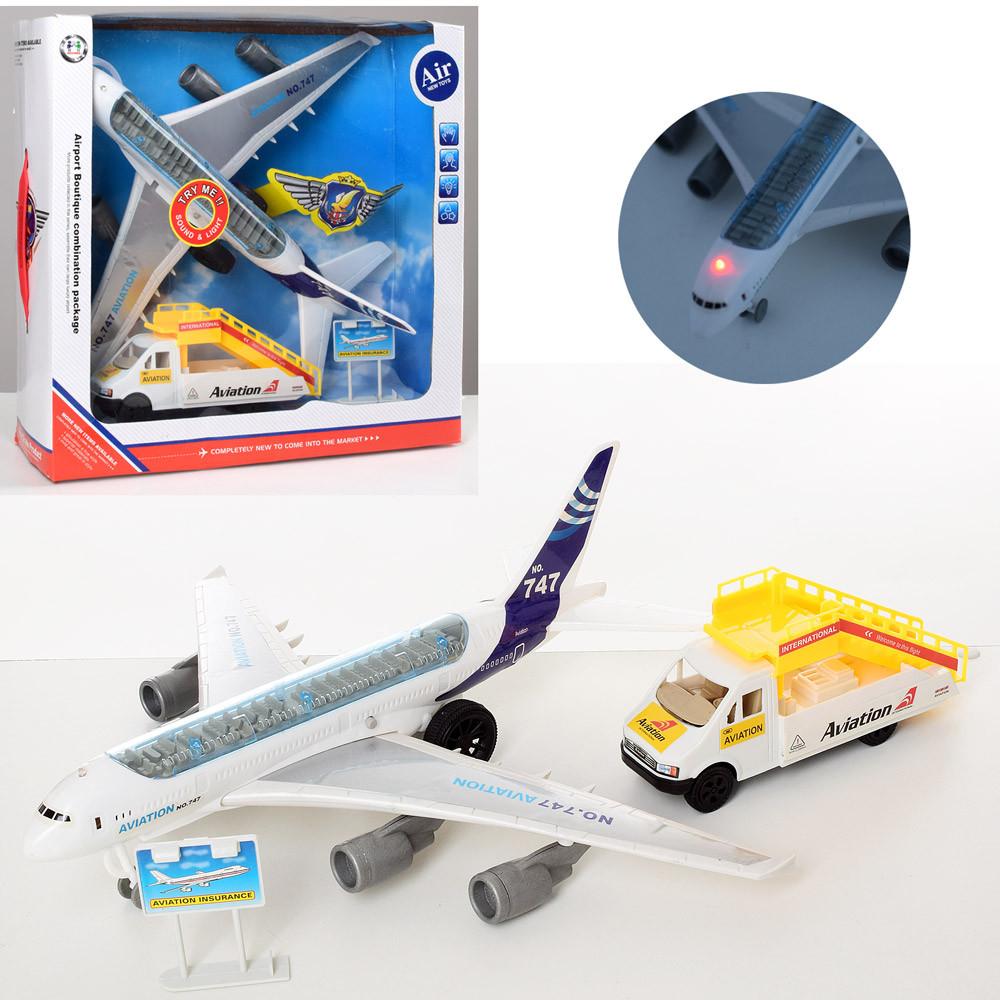Аэропорт, самолет-инерционный, звук, свет, машина-трап, 747-30A