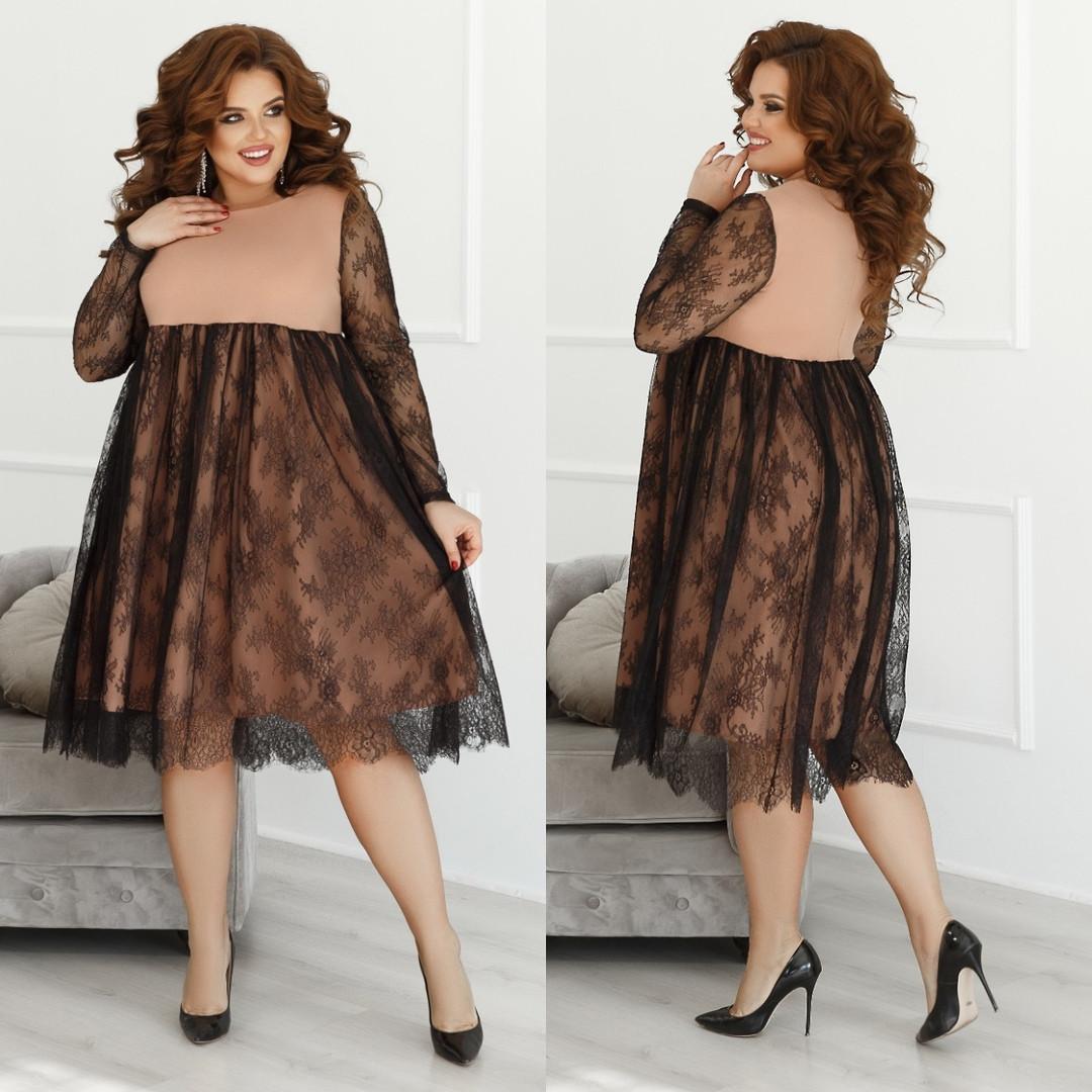 Женское нарядное платье свободного кроя креп дайвинг+гипюр размер: 48-50,52-54,56-58