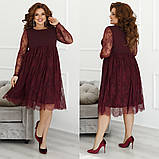 Женское нарядное платье свободного кроя креп дайвинг+гипюр размер: 48-50,52-54,56-58, фото 3