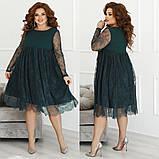 Женское нарядное платье свободного кроя креп дайвинг+гипюр размер: 48-50,52-54,56-58, фото 2