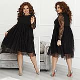 Женское нарядное платье свободного кроя креп дайвинг+гипюр размер: 48-50,52-54,56-58, фото 4
