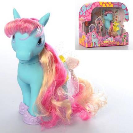 Конячка Little Pony, 16см, гребінець, заколочки, наклейки, 69009, фото 2