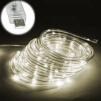 Уличная светодиодная ЛЕД Гирлянда наружная на елку (теплый белый, дюралайт, 100 LED, 9 м, прозрачная, от USB)