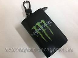 """Чехол для ключей с карабином """"Monster Energy""""  кожа твердая   3283"""