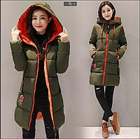Женская двухцветная куртка парка с вставками р.44-46 и 46-48