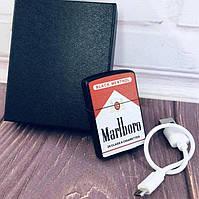 Зажигалка USB 1 молния/кнопка/ZIPPO Marlboro 7035
