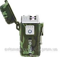 Зажигалка USB 2 молнии/Сенсорная кнопка/Камуфляж HL-317 Explorer