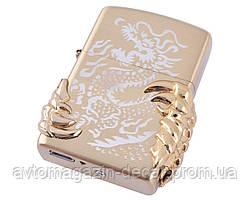 Зажигалка USB 2 молния/кнопка/ZIPPO Золотой Дракон HL-119