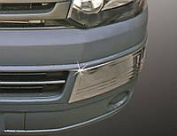 Углы на передний бампер (2 шт, нерж) Volkswagen T5 рестайлинг 2010-2015 гг. / Защитные (хром) накладки на