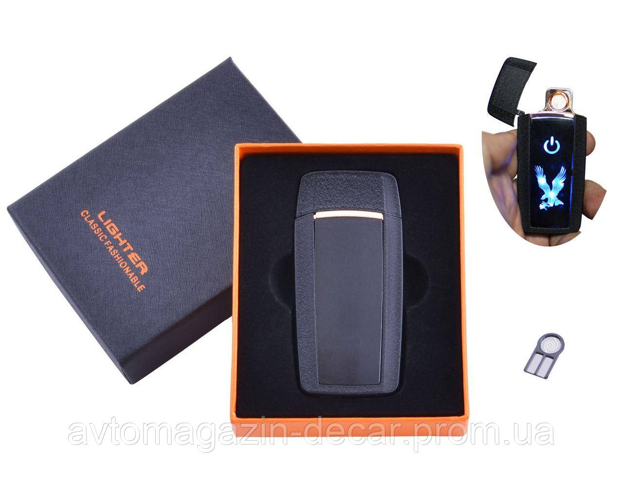 Зажигалка USB спираль накаливания+1 запасная/сенсорная кнопка/Герб Black/Gold/Silver HL-55