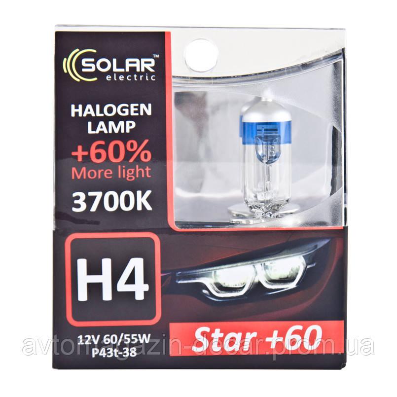 "Лампа 12V H4  60/55W + 60%  Starlight ""Solar"" (Box-2шт)  (1234S2) (10шт/уп)"
