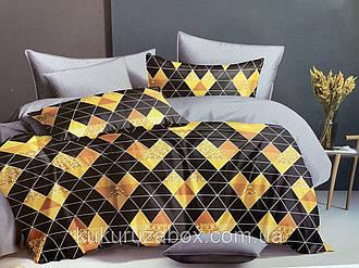 Полуторный комплект постельного белья «Золотое сердце» 147х217 см из сатина,однокомпонентный