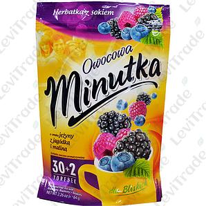 Чай фруктовий Minutka з ожиною, чорницею та малиною, 64г (30+2пак.) ZIP 10шт/ящ