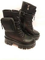 Зимние женские ботинки из натуральной кожи. Жіночі зимові чоботи.