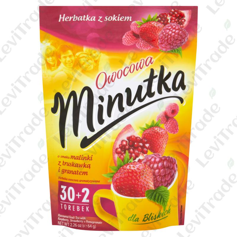 Чай фруктовий Minutka з малиною, полуницею та гранатом, 64г (30+2пак.) ZIP 10шт/ящ