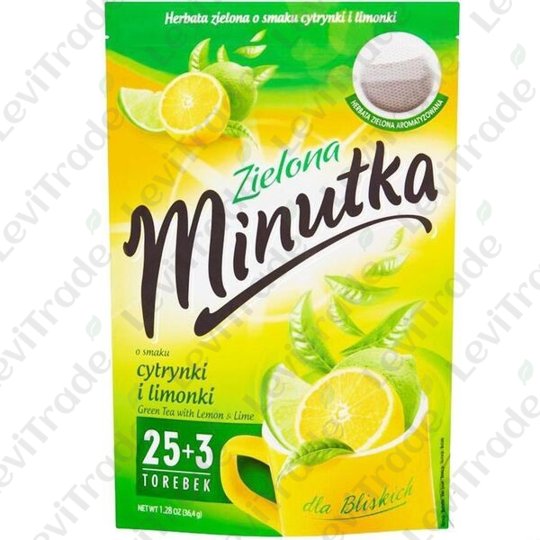 Чай зелений Minutka зі смаком лимона та лайма, 36,4г (25+3пакет.) ZIP 10шт/ящ