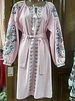 Красива рожева сукня з вишивкою 48 ромір