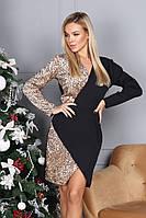 Платье, Ткань: Креп - костюмка, р-р 42-44, 46-48, цвет ( Золото, Чёрный )