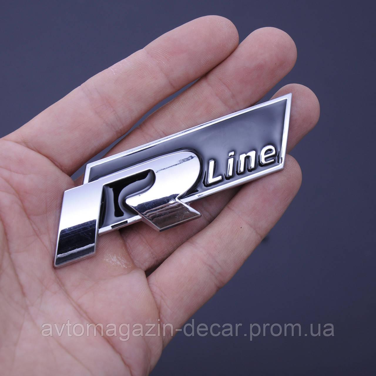 """Эмблема - надпись  """"R-Line"""" скотч 3М 70мм металл (Польша)"""