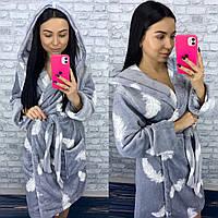 Короткий махровый халат серый с перьями, фото 1
