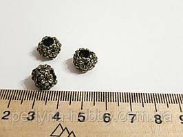 """Фурнітура для біжутерії намистина металева """"Вінок"""". Діаметр 12 мм. Колір бронза. Ціна за штуку."""