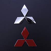 """Эмблема  """"Mitsubishi""""  95*84мм\пластик\хром скотч 3М (Lancer перед) (Польша)"""