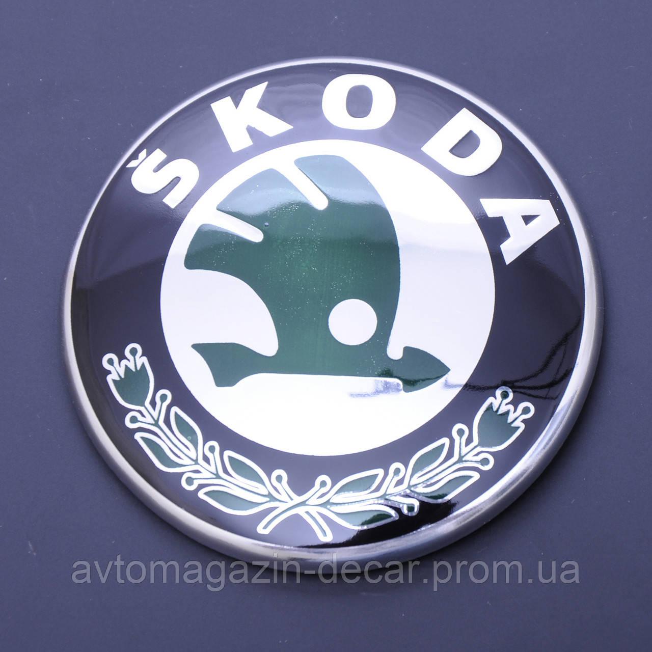 """Эмблема  """"Skoda""""  88мм\пластик\2 пукли скотч 3М (перед\зад) (OEM 6Y9853621)(Польша)"""