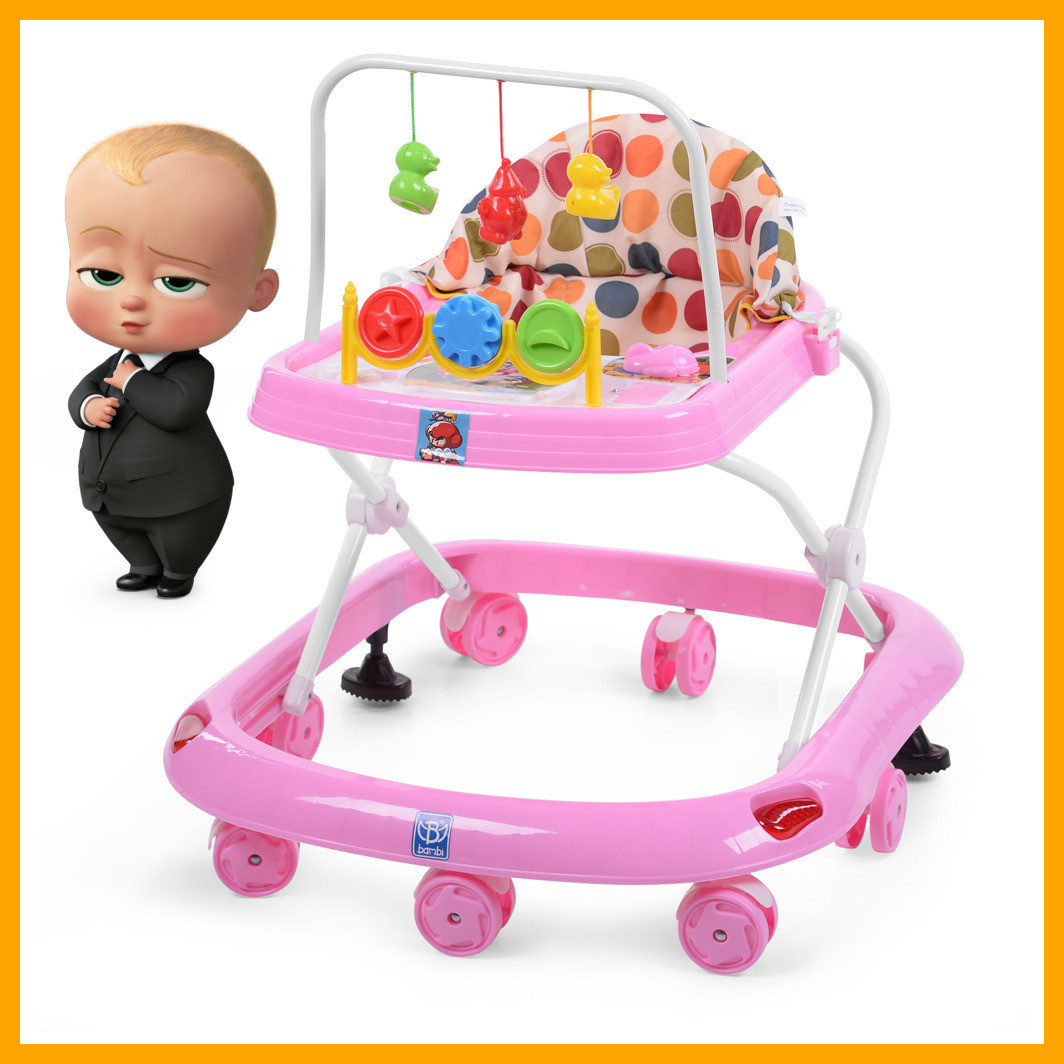 Дитячі ходунки музичні M 0541C-6, дуга з підвісками музика, світло, рожеві Дитячі ходулі