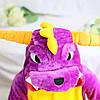 Кигуруми пижама детская фиолетовый Дракон цельная комбинезон унисекс, фото 3
