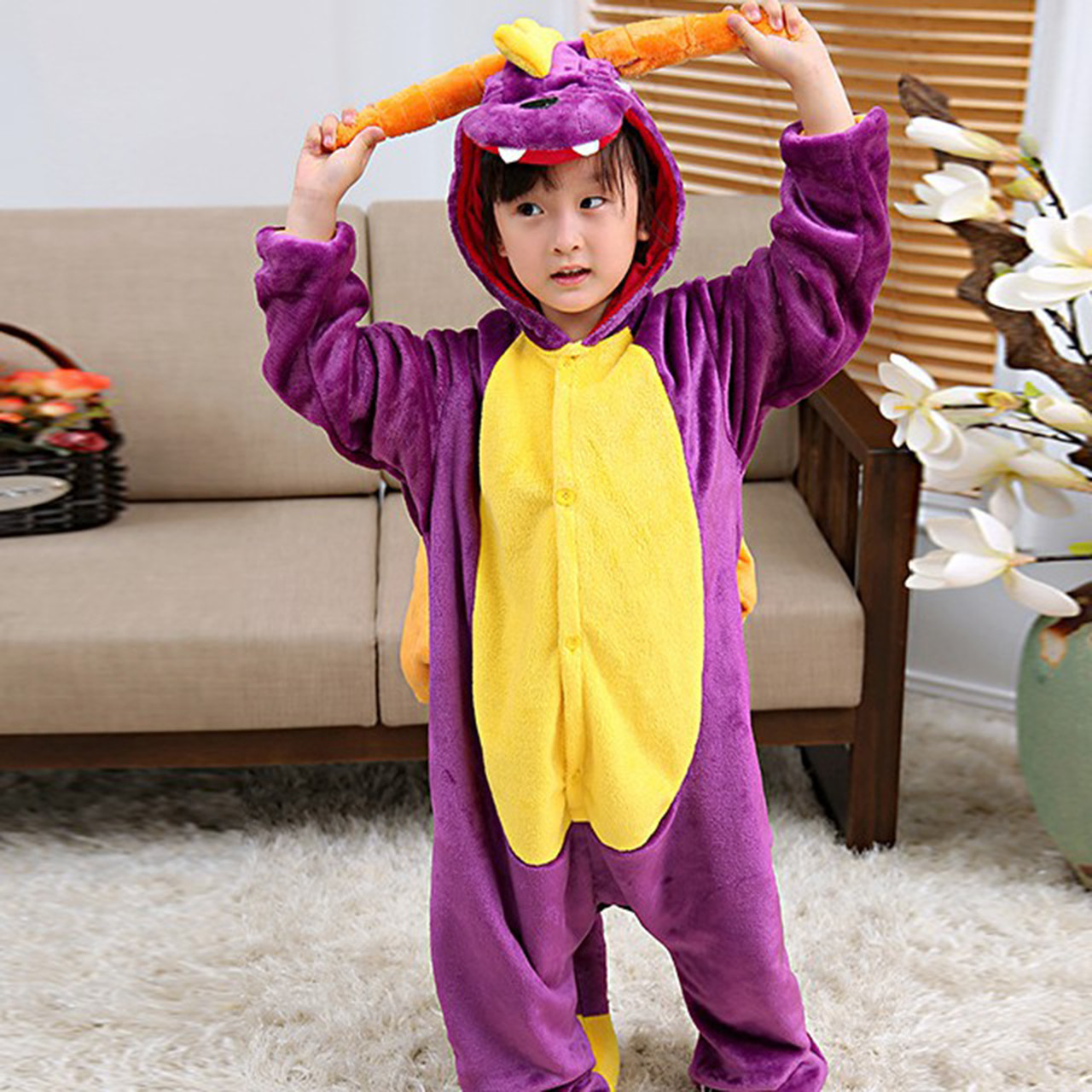 Кигуруми пижама детская фиолетовый Дракон цельная комбинезон унисекс