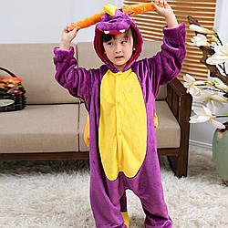 Кигуруми піжама дитяча фіолетовий Дракон цілісна комбінезон унісекс
