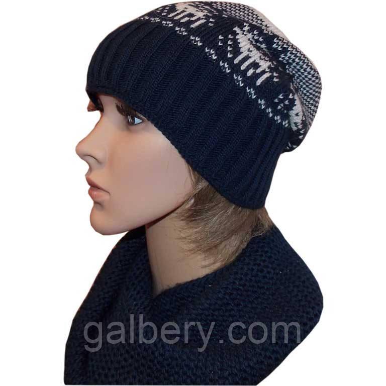 """Вязана зимова шапка-носок(утеплений варіант) з норвезькими орнаментами """"олені"""""""