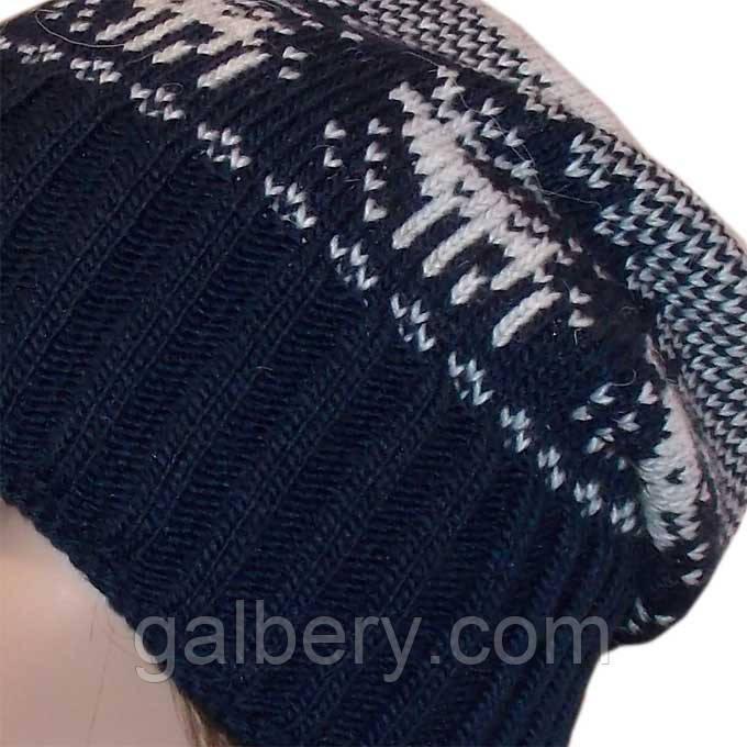 """Вязана зимова шапка - носок (утеплений варіант) з норвезькими орнаментами """"олені"""""""