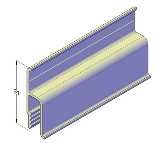 Алюминиевый пристенный стандартный профиль для натяжных потолков 2,5 м