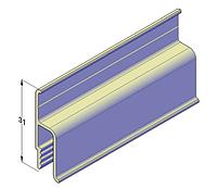 Алюминиевый пристенный стандартный профиль для натяжных потолков 2,5 м, фото 1