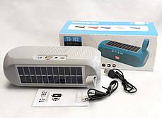 Портативная беспроводная bluetooth юсб колонка музыки блютуз акустика с солнечной батареей для телефона серая, фото 2
